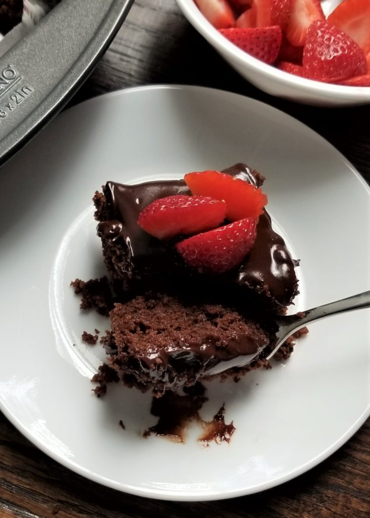brownie with strawberries on it