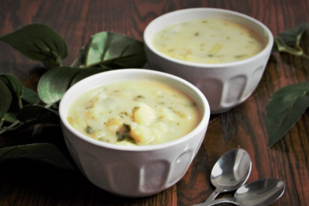 two bowls of potato soup