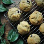 birds eye view of 6 blueberry muffins