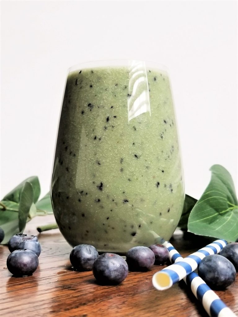 blueberry green smoothie close up