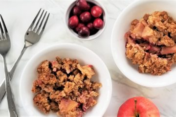 two bowls of apple cranberry crumble