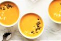 three bowls of butternut squash soup