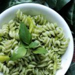 pesto pasta close up