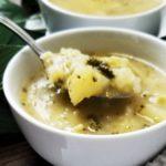 broccoli potato soup close up shot